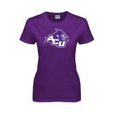 Ladies Purple T Shirt-Angled ACU w/Wildcat Head