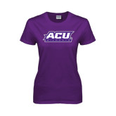 Ladies Purple T Shirt-ACU Wildcats
