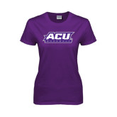 Ladies Purple T Shirt-Baseball