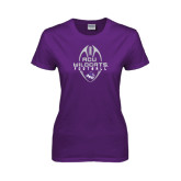 Ladies Purple T Shirt-Tall Football Design