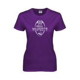 Ladies Purple T Shirt-Tall Football Design