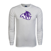 Abilene Christian White Long Sleeve T Shirt-Angled ACU w/Wildcat Head