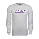 Abilene Christian White Long Sleeve T Shirt-ACU
