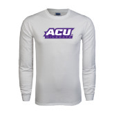 White Long Sleeve T Shirt-ACU Wildcats