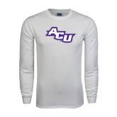 Abilene Christian White Long Sleeve T Shirt-Angled ACU