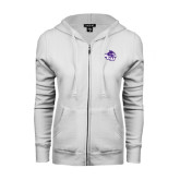 ENZA Ladies White Fleece Full Zip Hoodie-Angled ACU w/Wildcat Head