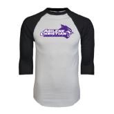 ACU Wildcat White/Black Raglan Baseball T-Shirt-Primary Logo