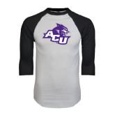 ACU Wildcat White/Black Raglan Baseball T-Shirt-Angled ACU w/Wildcat Head