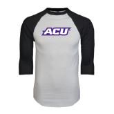 ACU Wildcat White/Black Raglan Baseball T-Shirt-ACU