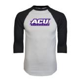 ACU Wildcat White/Black Raglan Baseball T-Shirt-ACU Wildcats