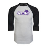 ACU Wildcat White/Black Raglan Baseball T-Shirt-Primary Logo Distressed