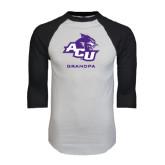ACU Wildcat White/Black Raglan Baseball T-Shirt-Grandpa