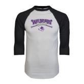 ACU Wildcat White/Black Raglan Baseball T-Shirt-Baseball Crossed Bats Design