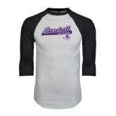 ACU Wildcat White/Black Raglan Baseball T-Shirt-Baseball Script w/ Bat Design