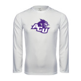 ACU Wildcat Syntrel Performance White Longsleeve Shirt-Angled ACU w/Wildcat Head