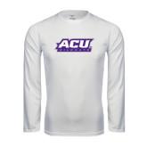 ACU Wildcat Syntrel Performance White Longsleeve Shirt-ACU Wildcats
