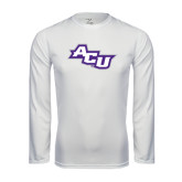 Performance White Longsleeve Shirt-Angled ACU