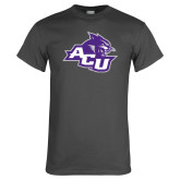 ACU Wildcat Charcoal T Shirt-Angled ACU w/Wildcat Head