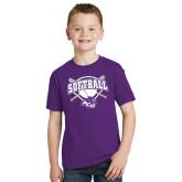 ACU Wildcat Youth Purple T Shirt-Softball Bats and Plate Design