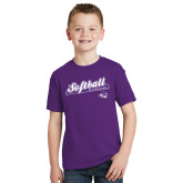 ACU Wildcat Youth Purple T Shirt-Softball Script w/ Bat Design