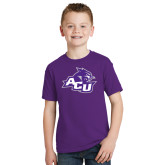 Youth Purple T Shirt-Angled ACU w/Wildcat Head