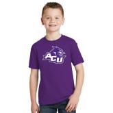 Youth Purple T Shirt-Angled ACU w/Wildcat Head