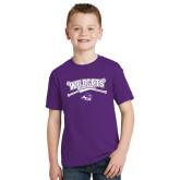 ACU Wildcat Youth Purple T Shirt-Baseball Crossed Bats Design