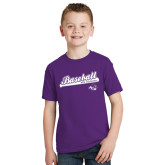 ACU Wildcat Youth Purple T Shirt-Baseball Script w/ Bat Design