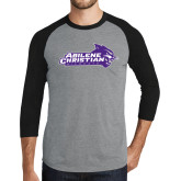 Grey/Black Tri Blend Baseball Raglan-Primary Logo