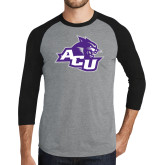 Grey/Black Tri Blend Baseball Raglan-Angled ACU w/Wildcat Head