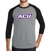 Grey/Black Tri Blend Baseball Raglan-ACU