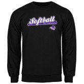 ACU Wildcat Black Fleece Crew-Softball Script w/ Bat Design