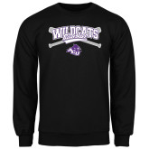 ACU Wildcat Black Fleece Crew-Baseball Crossed Bats Design