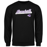 ACU Wildcat Black Fleece Crew-Baseball Script w/ Bat Design
