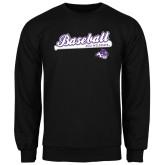Black Fleece Crew-Baseball Script w/ Bat Design