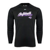 ACU Wildcat Under Armour Black Long Sleeve Tech Tee-Softball Script w/ Bat Design