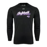 Under Armour Black Long Sleeve Tech Tee-Softball Script w/ Bat Design