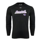 ACU Wildcat Under Armour Black Long Sleeve Tech Tee-Baseball Script w/ Bat Design