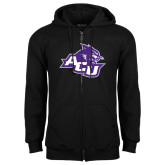 ACU Wildcat Black Fleece Full Zip Hoodie-Angled ACU w/Wildcat Head