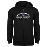 Black Fleece Full Zip Hoodie-Wide Football Design