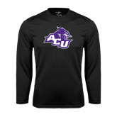 Performance Black Longsleeve Shirt-Angled ACU w/Wildcat Head