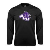 Abilene Christian Syntrel Performance Black Longsleeve Shirt-Angled ACU w/Wildcat Head
