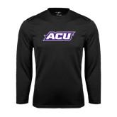 Abilene Christian Syntrel Performance Black Longsleeve Shirt-ACU
