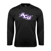 Abilene Christian Syntrel Performance Black Longsleeve Shirt-Angled ACU