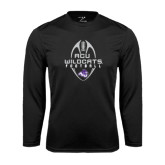 Performance Black Longsleeve Shirt-Tall Football Design