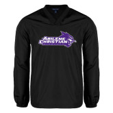 ACU Wildcat V Neck Black Raglan Windshirt-Primary Logo