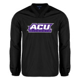 ACU Wildcat V Neck Black Raglan Windshirt-ACU Wildcats