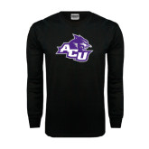 Abilene Christian Black Long Sleeve TShirt-Angled ACU w/Wildcat Head