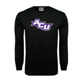 Abilene Christian Black Long Sleeve TShirt-Angled ACU