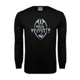 Abilene Christian Black Long Sleeve TShirt-Tall Football Design